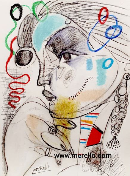 NEW EXPRESSIONISM AND  SURREALISM POP OF 21ST CENTURY. ART EXHIBITIONS.-José Manuel Merello.- Mujer pensativa. Mix media on paper