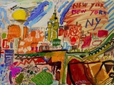 spanish-painting-contemporary-modern.merello.colors-of-new-york-54x73-cm-mix-media-on-table-