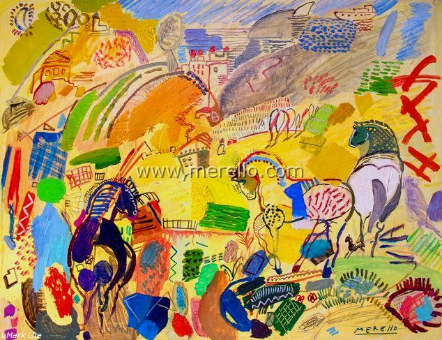 SPANISH MODERN ART. SPAIN CULTURE ART. XXI CENTURY 21-merello.-caballos _del _sol _(73x92 _cm)mixta-tabla.jpg