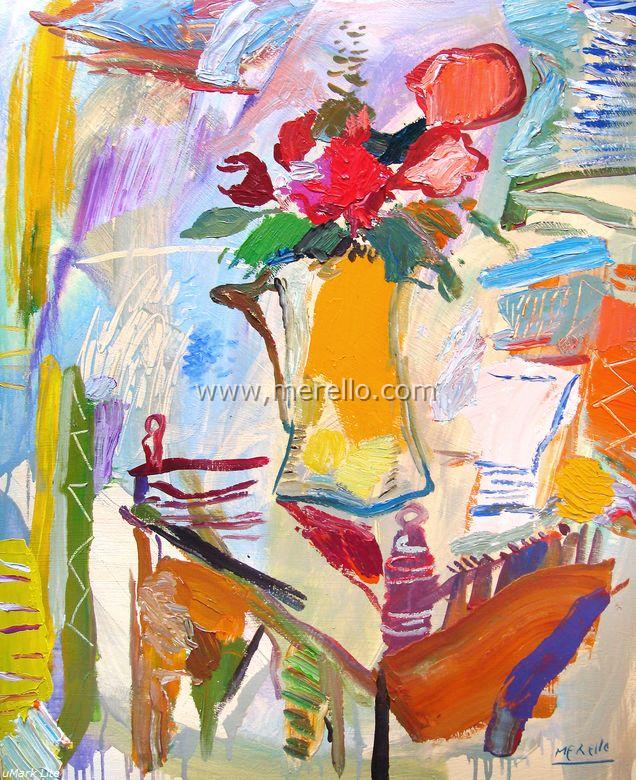 Arte contemporaneo Español-Spanish Modern Art-Art Espagnol Contemporaine-Merello.-Jarrón con Flores de la Pasión (100x81 cm) mixed media on canvas
