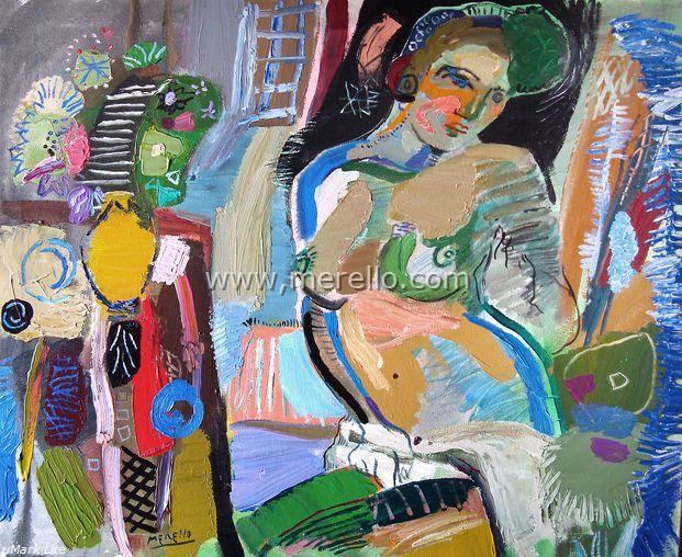 Arte contemporaneo Espa�ol-Spanish Modern Art-Art Espagnol Contemporaine-Merello.-Mujer esmeralda con florero (81x100 cm) mix media on canvas