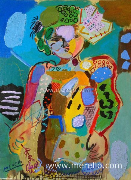 Arte contemporaneo Espa�ol-Spanish Modern Art-Art Espagnol Contemporaine-Merello.-Ni�a con lazo y flor (73x54 cm) mix media on canvas