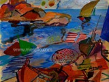 best-merello-contemporary-modern-art.-famous-paintings.-sal-azul.-mix-media.