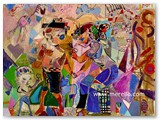 contemporary-modern-art-world-artists.jose-manuel-merello.-ninos-y-ofrenda.-pastoral.-(81x100-cm)-mix-media-on-canvas