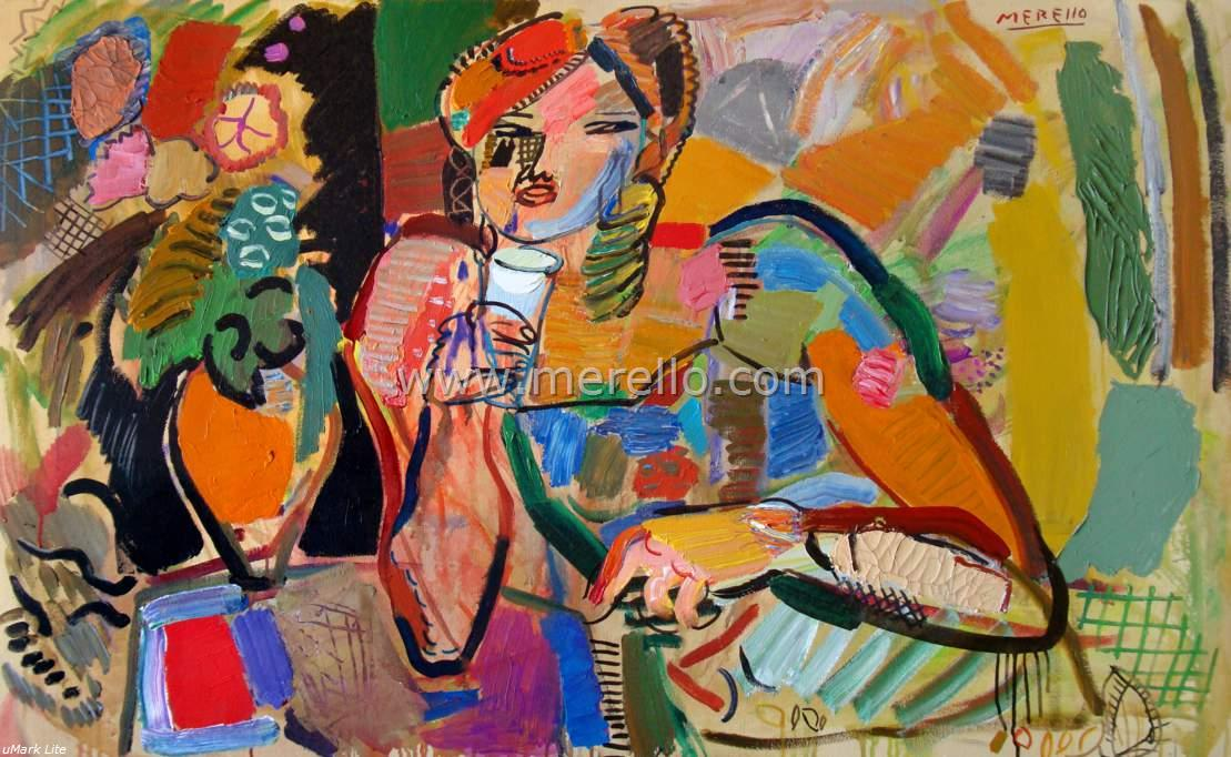 Contemporary Modern Artists Painters-merello.-Woman in the night (81x130 cm)mixed media-canvas-Contemporary Expressionism.jpg