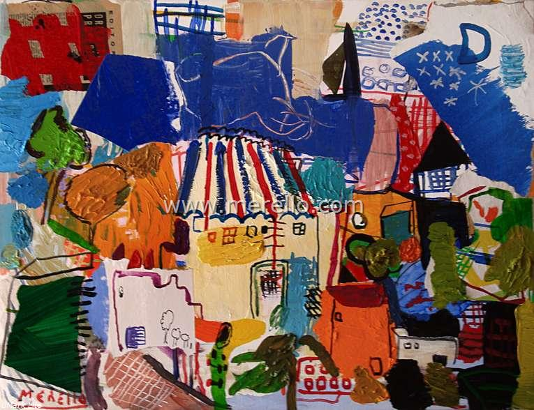 modern art 21.contemporary paintings-pintura espanola-merello.-la  casa  del  mago  (54x73  cm)mixta-lienzo