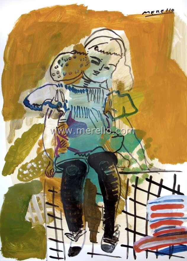 2011/modern art 21.contemporary paintings-pintura espanola-merello.-niña sentada (60x50 aprox)mixta-papel