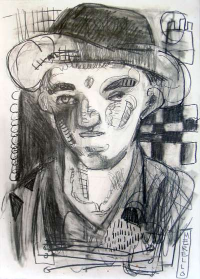 EXPRESSIONISM ART. BRUSHSTROKE EXPRESSIONIST ARTISTS.Worker .- Pencil