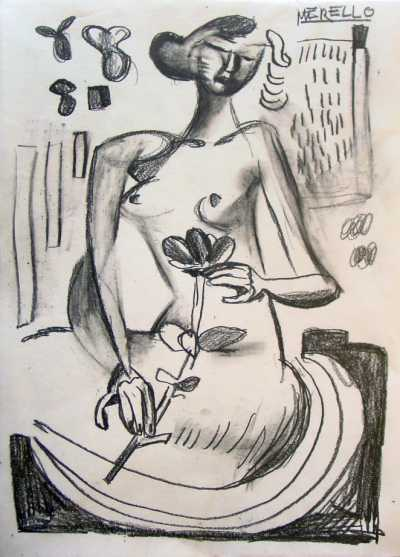 EXPRESSIONISM ART. BRUSHSTROKE EXPRESSIONIST ARTISTS.Anna Erotic with flower (49x36 cm) Pencil