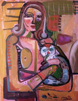 EXPRESSIONISM ART. BRUSHSTROKE EXPRESSIONIST ARTISTS.Woman with Cat (92x73 cm). Acrylic