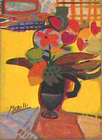 EXPRESSIONISM ART. BRUSHSTROKE EXPRESSIONIST ARTISTS.Yellow Vase (46x33 cm) Acrylic