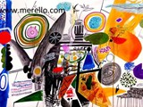 MODERN-ART-PAINTING.-jose-manuel-merello.-(104x70-cm)-la-mesa-del-mago.-watercolor-and-acrylic-on-paper..