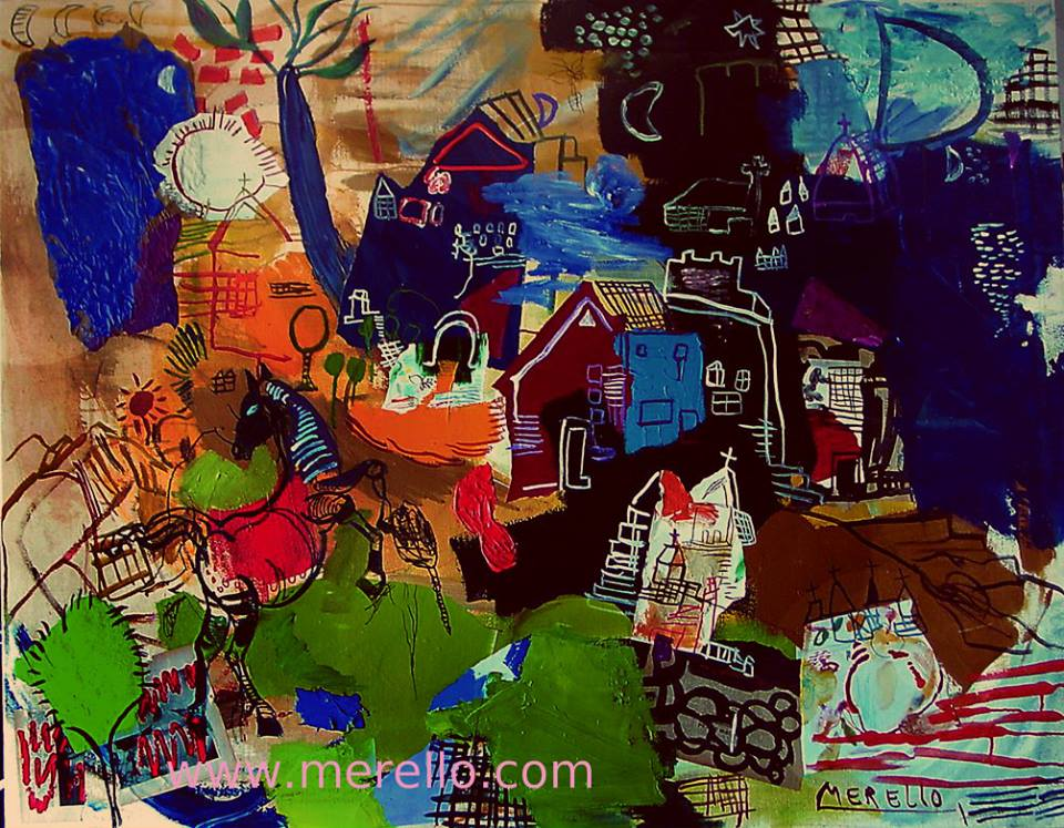 merello.-danza del caballo.Art investment. Invest in contemporary art. Spanish painting. Buy paintings of modern and contemporary art. Current art investment. Artists Painters.