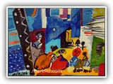 pintores-contemporaneos.-jose-manuel-merello.-las-meninas-de-velazquez.-mix-media-on-wood.