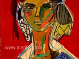 pintores-modernos-contemporaneos.merello.-figura-sobre-fondo-rojo-(73-x-54-cm)-mix-media-on-wood.