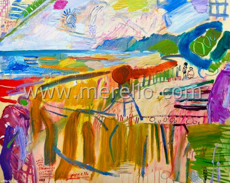 Merello.-Verano en La Marina Alta (73x92 cm) mixed media on canvas. ARTE CONTEMPOR�NEO. ART CONTEMPORAIN. PAISAJES DEL MEDITERR�NEO. Spanish Art. Contemporary Landscapes from Mediterranean Sea.